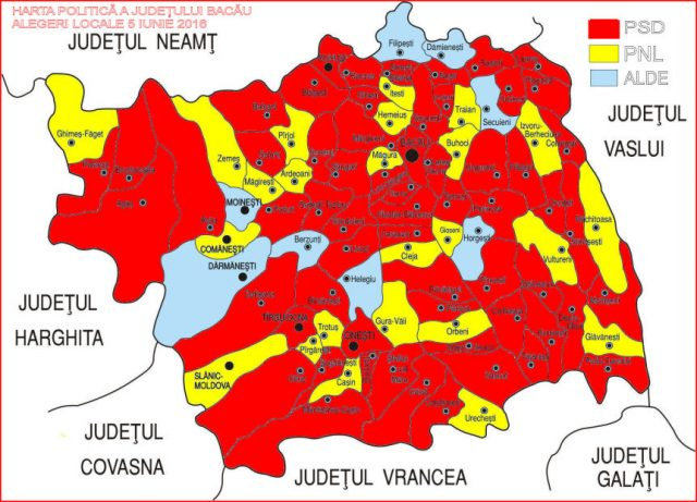 Harta politica dupa alegerile locale din iunie 2016